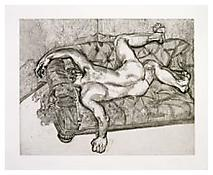 <i>Naked Man on a Sofa</i> c. 1985 Etching on Somerset Satin White paper Plate: 21 3/8 x 27 3/8 inches; 54 x 70 cm Sheet: 26 1/4 x 31 7/8 inches; 67 x 81 cm