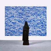 <i>St. Katharina und 2. Foto (Efeu) [St. Katharina and 2nd Photo (Ivy)] </i> 2006-07 Polyester, acrylic, and oil-based ink and acrylic on plastic panel Sculpture: 66 x 15 x 13 inches; 168 x 38 x 33 cm Silkscreen: 110 1/4 x 157 1/2 inches; 280 x 400 cm