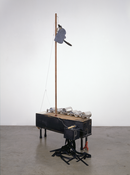 <I>Untitled</i> 2007 Painted wood, steel, aluminum, felt, glass, synthetic flowers, fabric and coral 74 1/4 x 37 x 37 inches; 189 x 94 x 94 cm
