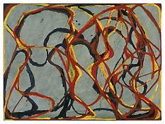 <i>2 Red Rocks 3</i> 2000-2002 Kremer ink on L'aquarelle paper 14 7/8 x 20 inches; 38 x 51 cm