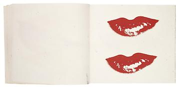 Andy Warhol <i>Lips</i> ca. 1975 Bound between marbleized paper covers 104 sheets Silkscreen ink on paper 8 x 9 inches; 20.5 x 23 cm  The sketchbook consists of pages silkscreened with the lips of over 60 different portrait subjects.