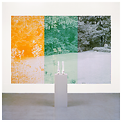 <b>Katharina Fritsch</b> <i>3. Gartenskulptur (Skelettfüsse) & 1. Foto (Rosengarten)/ 3rd Garden Sculpture (Skeleton Feet) & 1st Photo (Rose Garden)</i> 2006 Polyester, acrylic, and oil-based ink and acrylic on plastic panel Silkscreen: 110 1/4 x 157 1/2 inches; 280 x 400 cm Sculpture: 55 1/10 x 15 3/4 x 15 3/4 inches; 140 x 40 x 40 cm