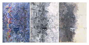 <i>Tantric Detail I, II, III</i> 1980 Oil on canvas, three panels Each panel: 50 x 34 inches; 127 x 86 cm