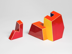 Ken Price <I>Untitled (Two Part Geometric)</i> 1979 Glazed ceramic in two parts Part 1: 3 3/4 x 4 1/2 x 3 1/4 inches; 10 x 11 x 8 cm Part 2: 2 1/2 x 1 1/2 x 2 1/4 inches; 6 x 4 x 6 cm