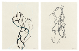 Brice Marden <I>Zen Print #1 and Zen Print #2</i> 2010 Woodcut on Kozo Kizuki-shi paper, two sheets 26 x 20 inches; 66 x 51 cm