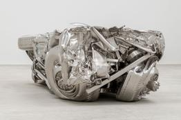 <I>Baled Truck</i>  2014 Solid stainless steel 33 x 50 x 118 inches; 84 x 129 x 298 cm