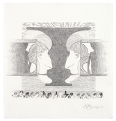 Jasper Johns <i>Montezavalentine</i> 2010 Graphite on paper 12 3/4 x 12 inches; 32 x 31 cm