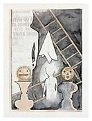 <i>Untitled</i>, 2010, India ink, walnut ink and newspaper transfer on paper, 34 1/2 x 25 3/4 inches; 88 x 65 cm