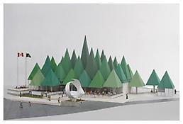 William Kissiloff, <i>Model of William Kissiloff's Pulp and Paper Pavilion Expo'67</i>, 2011, Pulp and paper, 12 1/2 x 43 1/4 x 35 1/2 inches; 32 x 110 x 90 cm