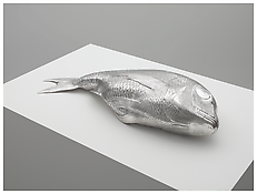 Charles Ray <i>Fish</i> 2011 Sterling silver 7 x 37 1/2 x 15 1/2 inches; 18 x 95 x 39 cm