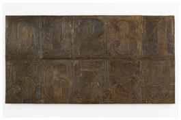 <i>Numbers (0-9) 11</i> 2011 Bronze 19 1/2 x 37 5/8 x 1 1/4 inches; 50 x 96 x 3 cm