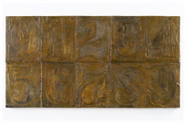 <i>Numbers (0-9) 12</i> 2011 Bronze 19 3/4 x 37 3/8 x 1 1/4 inches; 50 x 95 x 3 cm