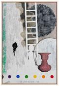 <i>5 Postcards</i> 2011 Encaustic on canvas 36 x 24 inches; 91 x 61 cm