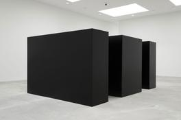 "<i>Maze</i> 1967 Steel, painted black Two units: 6'8"" x 10' x 30"" (203 x 305 x 76 cm) Two units: 6'8"" x 5' x 30"" (203 x 152 x 76 cm)"