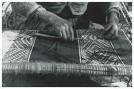 John Cohen <i>Inserting Final Passes of Welt Using a Needle</i>  1956 Gelatin silver print, printed 201 11 x 14 inches, 28 x 36 cm