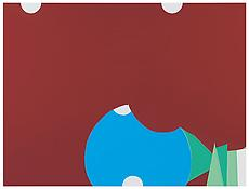 <i>The Red Meeting the Blue</i> 2013 Enamel on aluminum 54 x 71 5/8 inches; 137 x 182 cm