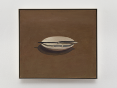 Vija Celmins <I>Untitled (Knife and Dish)</i> 1964 Oil on canvas 16 x 18 inches; 41 x 46 cm