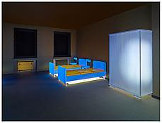 Martin Honert <i>Dormitory, Model 1:5</i> 2013 Wood, acrylic, metal, electrical devices, ink on foil and paper 60 5/8 x 60 x 45 1/2 inches 154 x 152 x 116 cm