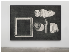 <i>Black tools drawing</i> 2013 Ink on paper in artist's frame  78 x 112 inches; 198 x 285 cm