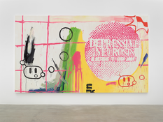 Michel Majerus  <I>depressive neurosis</i> 2000 Acrylic on cotton  102 1/4 x 177 inches; 260 x 450 cm