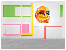 <i>your bad taste</i> 2002 Enamel and silkscreen on aluminum 155 1/2 x 256 inches; 395 x 650 cm
