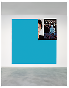 <i>Tron 5 (hellblau Pantone 311)</i> 1999 Silkscreen on canvas and wall painting Wall painting: 118 x 118 inches; 300 x 300 cm Screen print: 56 x 48 inches; 142 x 122 cm