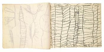Cy Twombly <i>Untitled</i> 1952-53 Staple-bound 30 sheets Wax crayon on paper 8 3/4 x 11 inches;   This is one of two sketchbooks the artist made on a trip to Tangier with Robert Rauschenberg.