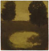 <I>Twin Trees</i> c. 1963 Oil on canvas mounted on Masonite 10 7/8 x 10 1/2 inches; 28 x 27 cm