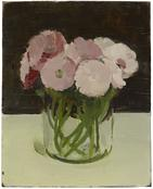 <i>Pink and White Flowers in Glass Container</i> 1965 Oil on wood 10 x 8 inches; 25 x 20 cm