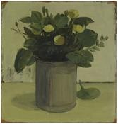 <i>Buttercups and Green Leaves</i> c. 1966 Oil on wood 12 1/2 x 11 7/8 inches; 32 x 30 cm