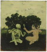 <i>Woman and Skeleton</i> c. 1967 Oil on canvas mounted on Masonite 12 x 11 inches; 31 x 28 cm