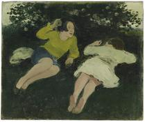 <i>Two Reclining Women in a Landscape</i> c. 1967 Oil on canvas 10 x 12 inches; 25 x 31 cm