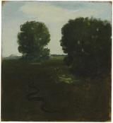 <i>Landscape with Trees and Snake</i> 1967 Oil on canvas mounted on Masonite 12 x 11 inches; 31 x 28 cm