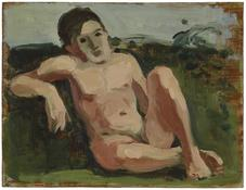 <i>Seated Male Nude</i> c. 1968 Oil on wood 9 3/4 x 12 5/8 inches; 25 x 32 cm