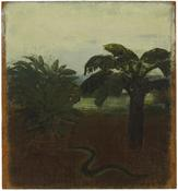 <i>Tropical Landscape with Palm and Snake</i> c. 1969 Oil on canvas mounted on board 12 x 10 1/2 inches; 31 x 27 cm