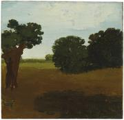 <i>Field with Trees</i> c. 1969 Oil on wood 11 1/4 x 11 3/4 inches; 29 x 30 cm
