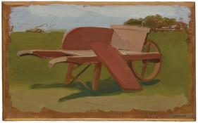 <i>Wheelbarrow</i> 1974 Oil on wood 7 x 11 1/4 inches; 18 x 29 cm