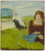 <i>Seated Woman with a Stork by a Pond in a Landscape</i> c. 1966 Oil on canvas mounted on Masonite 10 1/2 x 9 1/2 inches; 27 x 24 cm