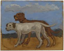 <i>Brown Dog and Grey Dog</i> 1977 Oil on Masonite 9 3/4 x 12 1/4 inches; 25 x 31 cm