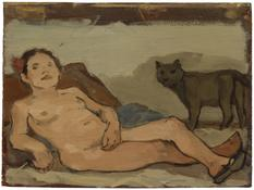 <i>Reclining Female Nude with Cat</i> 1978 Oil on wood 9 3/8 x 12 5/8 inches; 24 x 32 cm