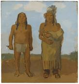 <i>Indian Brave and Indian Chief</i> 1978 Oil on Masonite 10 3/4 x 10 inches; 27 x 25 cm