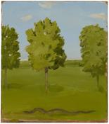 <i>Landscape with Trees and Snake</i> 1980 Oil on Masonite 12 1/2 x 11 inches; 32 x 28 cm