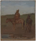 <i>An Indian on Horseback and an Indian Standing by Water in a Landscape</i> 1981 Oil on Masonite 14 x 12 inches; 36 x 31 cm