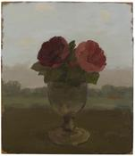 <I>Two Pink Anemones in a Glass Vase in a Landscape</i> 1982 Oil on Masonite 14 x 12 1/8 inches; 36 x 31 cm