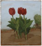 <i>Three Red Tulips in a Landscape with Horse and Rider</i> 1982 Oil on wood 15 3/8 x 14 1/4 inches; 39 x 36 cm Parrish Art Museum, Water Mill, NY,  gift of Mr. and Mrs. Werner Kramarsky.