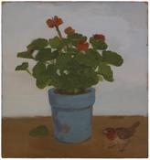 <i>Geranium in Blue Pot with Fallen Leaf and Bird</i> 1982 Oil on wood panel 18 x 17 inches; 46 x 43 cm