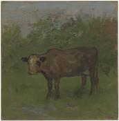 <i>Brown Cow in Wooded Landscape</i> 1984 Oil on wood panel 14 1/4 x 14 inches; 36 x 36 cm