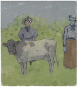 <I>Two Women and a Cow in a Landscape</i> 1986 Oil on canvas board 15 1/2 x 14 inches; 39 x 36 cm