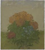 <i>Flowers in a Landscape</i> 1992 Oil on paper mounted on Masonite 13 1/4 x 11 3/4 inches; 34 x 30 cm