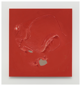 <i>Red painting</i>  2014 Enamel on linen 50 1/8 x 46 3/8 inches; 127 x 118 cm